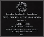 Pacific Heights Cleaners receives the Sausalito Sustainability Commissions Green Business of the Year Award
